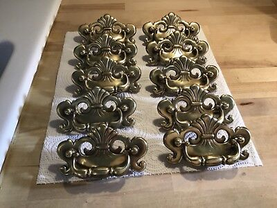 "Ten 1989 brass chippendale B-1116-0 drawer pulls handles 4 1/2"" wide"