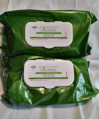2x100 Packs Aloetouch MEDLINE Personal Cleansing Cloths  pHbalance alcohol free