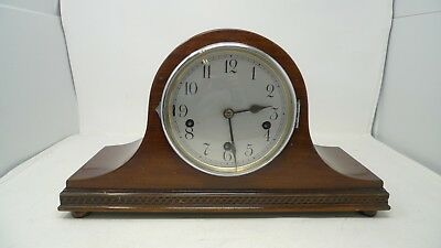 MANTLE CLOCK wooden frame vintage retro spares or repairs *