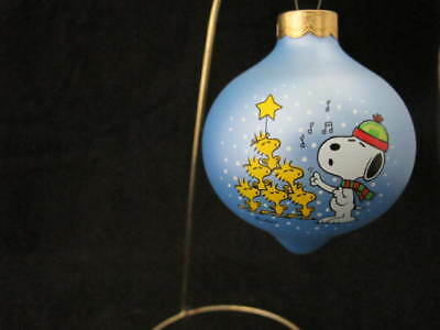 "Hallmark Peanuts Glass Ornament 1985 Snoopy & Woodstock ""sing A Song Of Joy"""