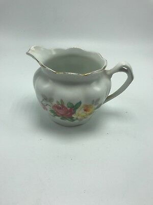 "Gorman Creamer 3 1/2"" tall Handled Floral Vintage Spout Creamer 1900's"
