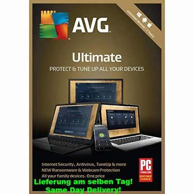 AVG ULTIMATE 2020 unbegrenzte Geräte PC, Mac, Android TuneUp Internet Security