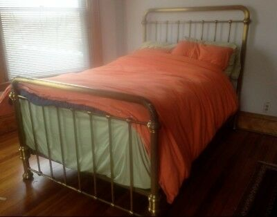 Antique Victorian Brass Bed Full Size, Iron rails underneath