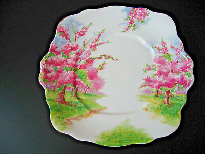 Royal Albert Square Handled Cake Plate Blossom Time Pattern 9 3/4 inches across