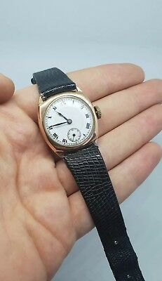 Antique Art Deco 9k ct Rose Gold Watch Cushion case running ladies gents midsize