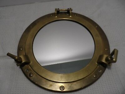 Vtg Brass Porthole Mirror Window Nautical Ship Wall Decor total diameter 11 1/2""