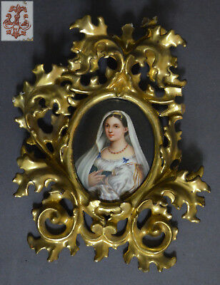 19Th C Italian German Marked Hand Painted Porcelain Plaque Gilded Carved Frame