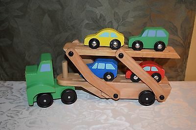 Melissa & Doug Car Carrier Truck with 4 Cars Children's Play Classic Toy Wooden