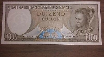 Suriname 1000 Gulden Bill Note Uncirculated, Beautiful Condition