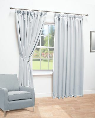 "Thermal Blackout Pencil Pleat Curtains / Silver / 90"" x 72"" / REFURBISHED"
