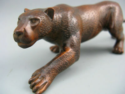 Rare Old Antique Collectible Boxwood Handwork African Leopard Netsuke Statue
