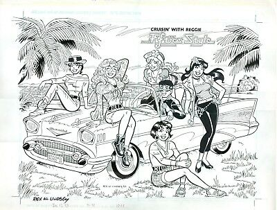 Archie's Girls with Reggie 1950's Style Double Page Spead for Reggies Revenge #1