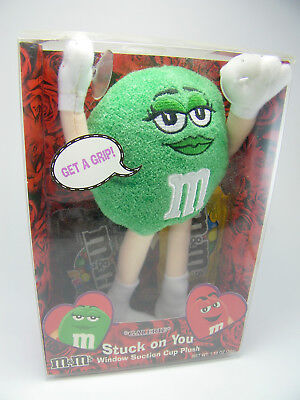 M&M Green Suction Cup Plush Galerie Stuffed Toy Stuck on You 8""