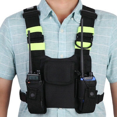 Harness Chest Front Pack Pouch Holster Vest Rig for Two Way Radio Walkie Talkie