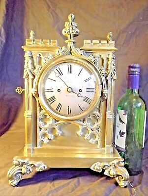 Gothic Double fusee clock, solid brass, pull repeat, bell chiming.