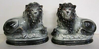Pair Of Antique / Vintage Staffordshire Type Lions W/ Glass Eyes_Estate Sale