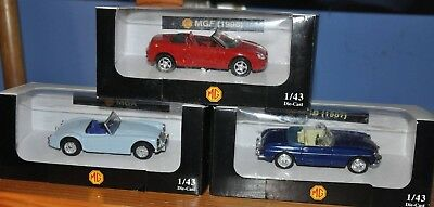 Lot de 3 voitures miniatures MG au 1:43 Type MG A, MG B et MG F