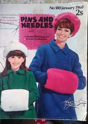 """Vintage Craft Magazine """"Pins and Needles"""" #180 January 1968 ~ knitting sewing"""