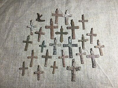 Metal detector finds.Mix lot  ancient crosses (The age of 17-18)25 pieces. N68
