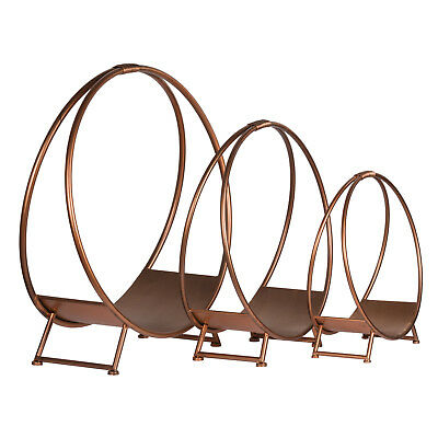 Contemporary Copper Finished Circular Metal Log Holders - Three Sizes Available!