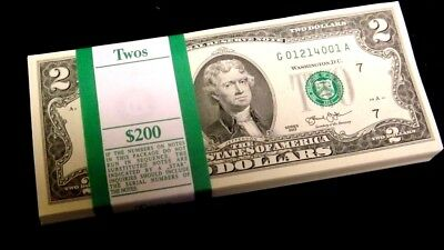 100  Consecutive $2 Bills  CRISP NEW Two Dollar Notes BEP Pack Chgo Fed Bills