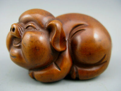 Antique Collectible Old Boxwood Handwork Pig Netsuke Rare Statue