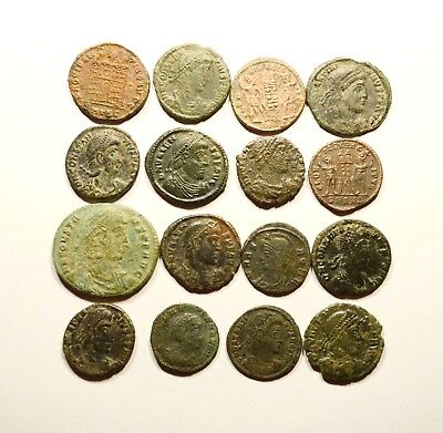 Lot Of 16 Imperial Roman Bronze Coins For Identifying - 09