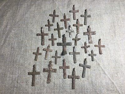 Metal detector finds.Mix lot  ancient crosses (The age of 17-18)25 pieces. N69
