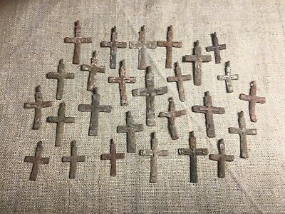 Metal detector finds.Mix lot  ancient crosses (The age of 17-18)25 pieces. N70