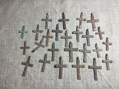 Metal detector finds.Mix lot  ancient crosses (The age of 17-18)25 pieces. N71