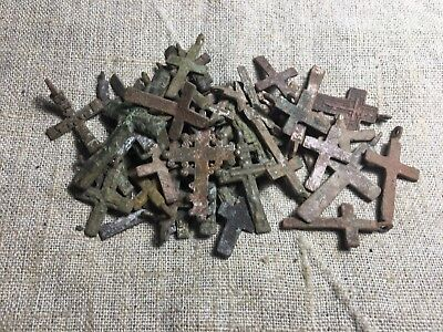 Metal detector finds.Mix lot  ancient crosses (The age of 17-18)50 pieces. N75