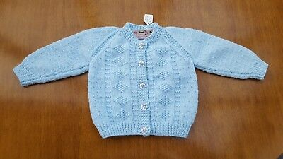 """Hand Knitted Baby Cardigan, Fit 18 Months, Chest 20"""" (50cm), 100% Acrylic DK"""