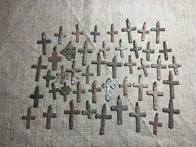 Metal detector finds.Mix lot  ancient crosses (The age of 17-18)45 pieces. N73