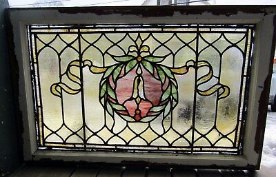 Antique Victorian Stained Glass Window 20 By 31