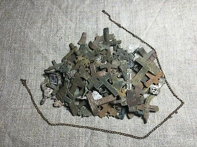 Metal detector finds.Mix lot  ancient crosses (75 fragment) N74