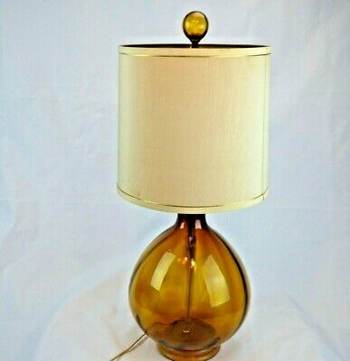 Blenko Optic Amber Table Lamp w Finial LP16 Winslow Anderson Original Harp 30""