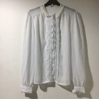 White Blouse Shirt Pleated Lace Peter Pan Collar Bow New Romantic Size 14/16