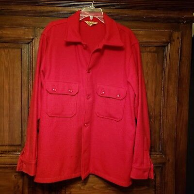 Vintage Boy Scouts Of America Official Jacket Red Wool Coat Men's 46 Made In USA