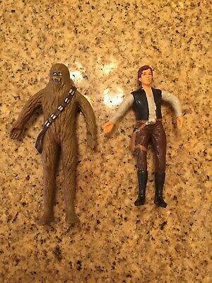 1993 Just Toys Inc Star Wars Bend Ems Han Solo Chewbacca Action Figure Lot