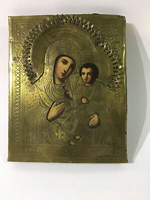 Antique Hand painted Icon Virgin the Iversk 19 th. century