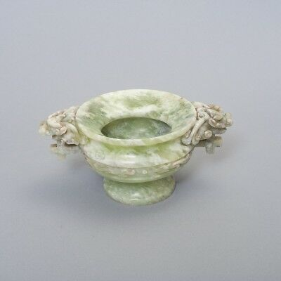 """Antique Chinese Carved Jade Footed Incense Pot Bowl Foo Dog Handles 4.25"""" Tall"""