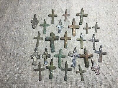 Metal detector finds.Mix lot  ancient crosses (The age of 17-18)25 pieces. N72