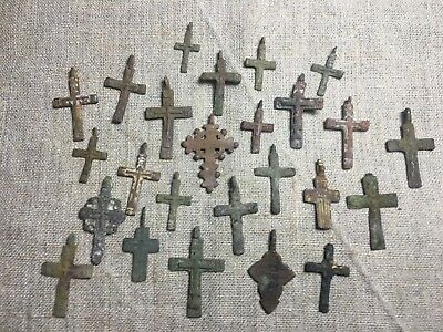 Metal detector finds.Mix lot  ancient crosses (The age of 17-18)25 pieces. N76