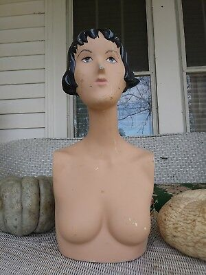 Vintage Mannequin Display Prop Painted Face hair female solid retro torso pretty