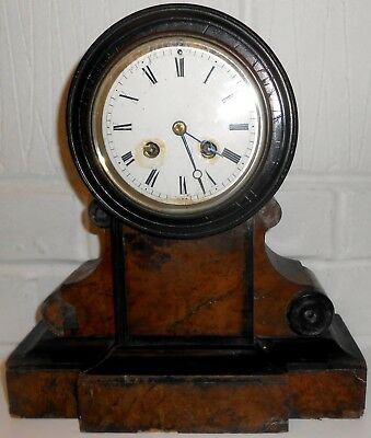 Antique French Japy Freres Wooden Cased Chiming Mantel Clock with Pendulum