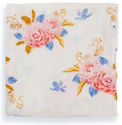Muslin Swaddle Blanket, Pink Floral Print Newborn Baby Infant, Bamboo/Cotton