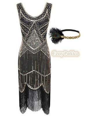 Black Gold Ladies 1920s Roaring 20s Flapper Gatsby Costume Sequins Outfit Dress