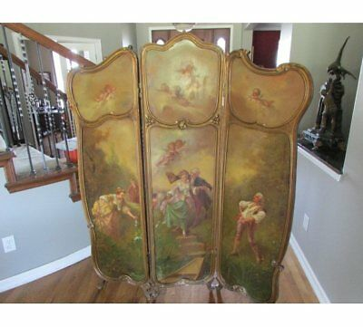 Signed Antique French Louis Xv French Dressing Screen Room Divider
