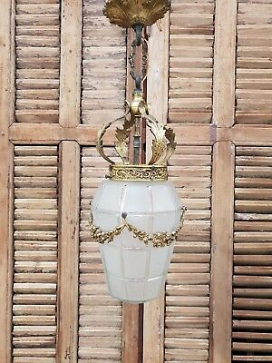 Antique Ornate French Brass Hall Chandelier Lighting Flowers Leaf Decoration
