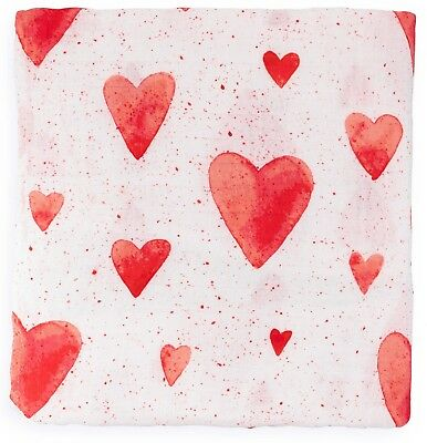 Muslin Swaddle Blanket, Red Hearts Print Newborn Baby Infant, Bamboo/Cotton